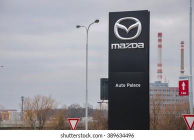 PRAGUE, THE CZECH REPUBLIC, 12.03.2016 - emblem of mazda car store