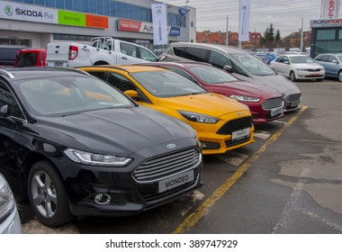 PRAGUE, THE CZECH REPUBLIC, 12.03.2016 - Ford Focus in front of car store Ford