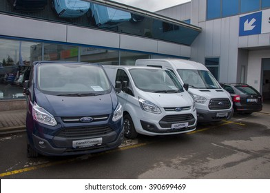 PRAGUE, THE CZECH REPUBLIC, 12.03.2016 - Ford transit parking in front of car store Ford
