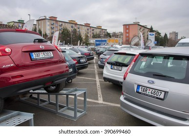 PRAGUE, THE CZECH REPUBLIC, 12.03.2016 - parking cars in row in front of car store