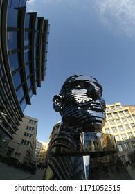 Prague, Czech Republic. 12.29.2017. The Head of Franz Kafka, also known as the Statue of Kafka, is an outdoor sculpture by David Cerny depicting Bohemian German-language writer Franz Kafka.