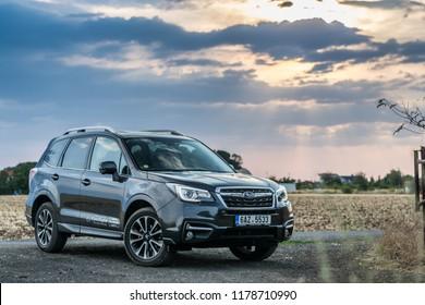 PRAGUE, THE CZECH REPUBLIC, 13. 7. 2018: Subaru Forester, model year 2018 in Czech in sunset