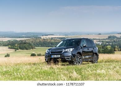 PRAGUE, THE CZECH REPUBLIC, 13. 7. 2018: Subaru Forester, model year 2018 in Czech
