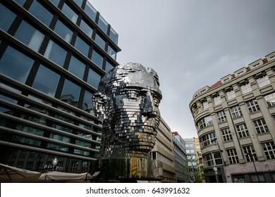 PRAGUE, CZECH REPUBLIC - 13 MAY 2017: Modern art installation of the rotating metal head of the writer Franz Kafka