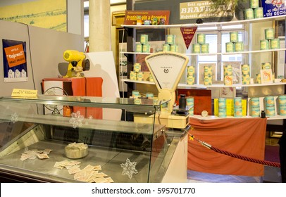 Prague, Czech Republic - 14 February, 2016: Retro counter of a food store as a part of the exhibition of Museum of Communism in Prague, Czech Republic. Vintage style.