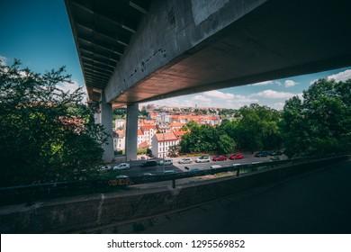 PRAGUE, CZECH REPUBLIC - 14.7.2016: Photos of the bridge next to Vysehrad hill.