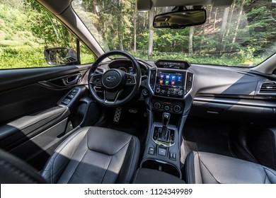 PRAGUE, THE CZECH REPUBLIC, 15. 5. 2018: New Subaru Impreza, model year 2018 in Czech: Interior