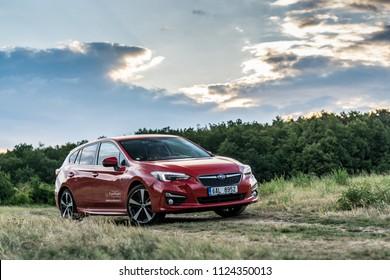 PRAGUE, THE CZECH REPUBLIC, 15. 5. 2018: New Subaru Impreza, model year 2018 in Czech