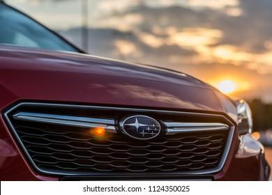 PRAGUE, THE CZECH REPUBLIC, 15. 5. 2018: New Subaru Impreza, model year 2018 in Czech: Detail in sunset