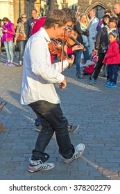 PRAGUE, CZECH REPUBLIC, 15 OCTOBER, 2015: Street violinist with a violin and bow in his hands