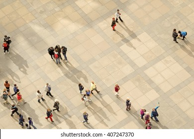 PRAGUE, CZECH REPUBLIC, 15 OCTOBER, 2015:  People on the street view from above