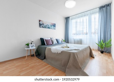 PRAGUE, THE CZECH REPUBLIC, 15.7.2020 - A cozy bedroom with  pillows on a bed, plants, nice view from window, wooden floor.