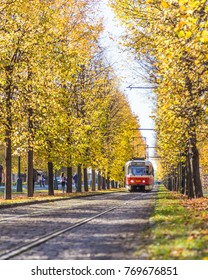 PRAGUE, CZECH REPUBLIC - 15TH OCTOBER 2017: Typical  trams and lots of colorful trees in Prague during the autumn.