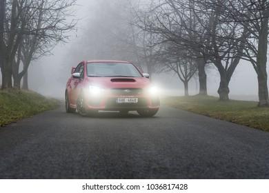 PRAGUE, THE CZECH REPUBLIC, 16. 2. 2018: New Subaru WRX STI, model year 2018 in Czech on road