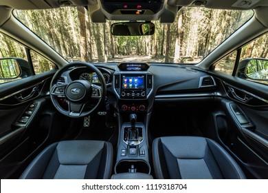PRAGUE, THE CZECH REPUBLIC, 16. 5. 2018: Subaru XV 1.6i-S, model year 2018 in Czech: Interior