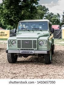 Prague, Czech republic - 16/5/2019 light green Land Rover Defender