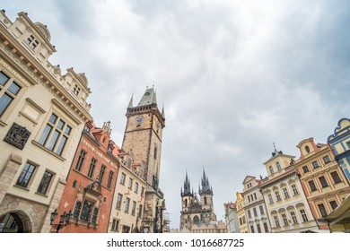 Prague, Czech Republic - 17 April 2017 :  Tyn Church and buildings around the Old Town Square, Prague