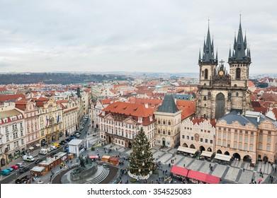 PRAGUE, CZECH REPUBLIC - 17TH DECEMBER 2015: Christmas market, Tyn church at Old Town Square, aerial view