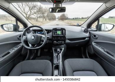 PRAGUE, THE CZECH REPUBLIC, 18. 3. 2019: Renault Zoe, model year 2019 in Czech: Interior