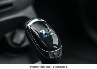 PRAGUE, THE CZECH REPUBLIC, 18. 3. 2019: Renault Zoe, model year 2019 in Czech: Interior detail