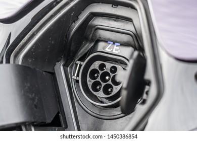 PRAGUE, THE CZECH REPUBLIC, 18. 3. 2019: Renault Zoe, model year 2019 in Czech: Recharging connector