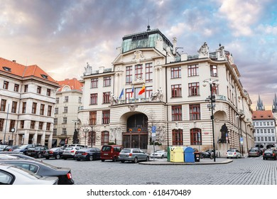 PRAGUE, CZECH REPUBLIC - 18 MARCH, 2017: The building of the New Town Hall with the town council meeting of the Prague was built in 1911