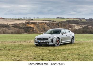 PRAGUE, THE CZECH REPUBLIC, 19. 1. 2019: Kia Stinger GT 3.3 V6 T-GDI, model year 2019 in Czech in nature