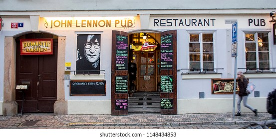 Prague, Czech Republic - 19 February, 2016: The entrance of the pub and restaurant in the center of Prague.