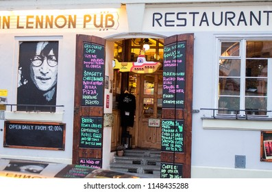 Prague, Czech Republic - 19 February, 2016: The famous John Lennon pub and restaurant in the center of Prague. The tourist attraction.
