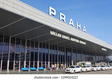PRAGUE, CZECH REPUBLIC -19 JAN 2019- View of the Vaclav Havel Airport Prague (Letiště Václava Havla Praha) (PRG), the international airport of Prague, the capital of the Czech Republic.