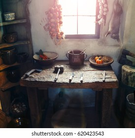 PRAGUE, CZECH REPUBLIC, 19 MARCH 2017: Rural simple kitchen interior in old village cottage Exhibition of historical artifacts on the Golden Street