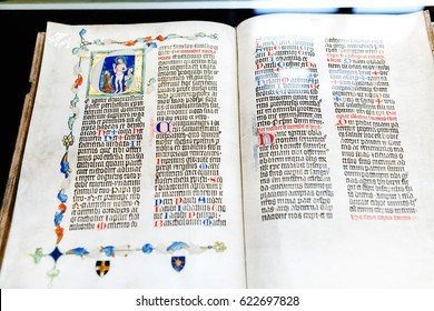 PRAGUE, CZECH REPUBLIC 19 MARCH 2017: ancient theologic book manuscript written in latin in Strahov monastery library in Prague old town