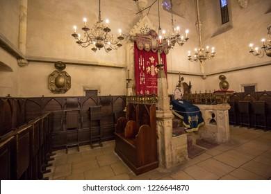 Prague, Czech republic - 19 November 2017: Old new synagogue (Staronová Synagogue)