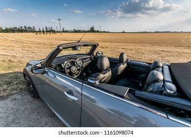 PRAGUE, THE CZECH REPUBLIC, 2. 8. 2018: New Mini John Cooper Works Cabrio, model year 2018 in Czech: Interior