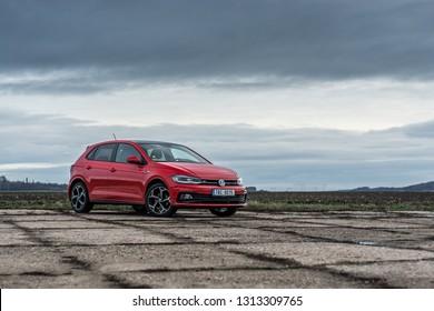 PRAGUE, THE CZECH REPUBLIC, 20. 1. 2019: Volkswagen Polo R-Line, model year 2019 in Czech