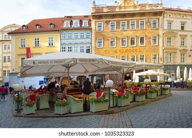 Prague, Czech Republic, 2017 10 26: restaurant and Hotel u Prince in the center of Prague's old town - tables on the street