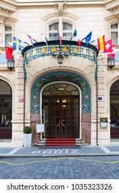 Prague, Czech Republic, 2017 10 26: main entrance to the famous Pariz Hotel in Prague, Czech Republic