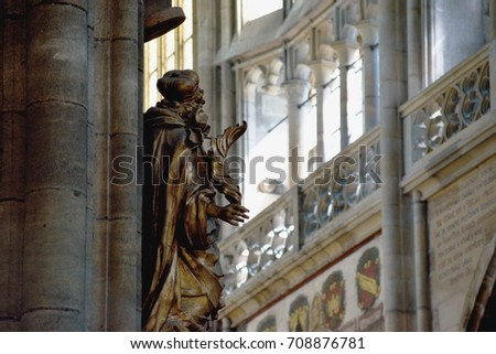 Prague / Czech Republic - 2017: The Metropolitan Cathedral of Saints Vitus - Statues and sculptures.