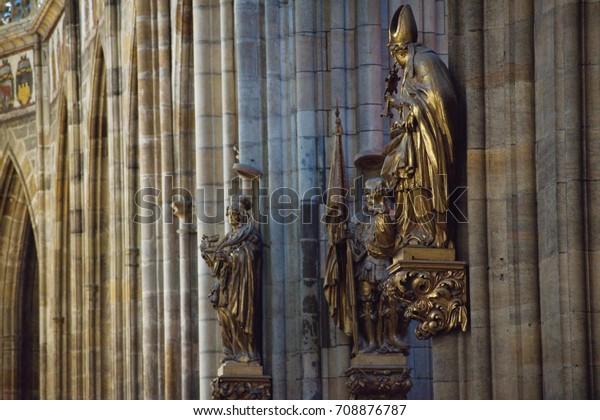 Prague / Czech Republic - 2017: The Metropolitan Cathedral of Saints Vitus - Statues and sculptures.