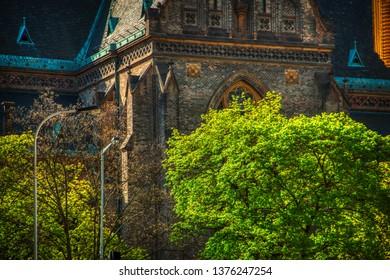 Prague, Czech Republic 21 of April of 2019 - close up of Namesti Miru Church