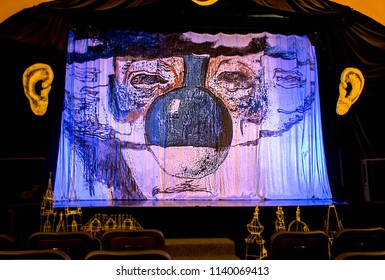 "Prague, Czech Republic - 21 February, 2016: The  stage of the creative ""Black Light Theatre""."