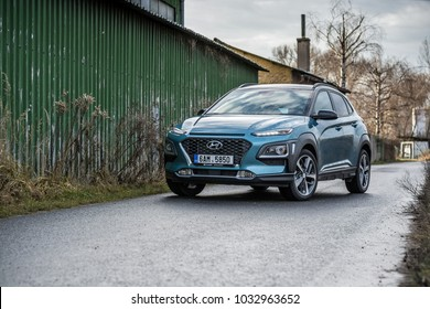 PRAGUE, THE CZECH REPUBLIC, 22. 10. 2017: New Hyundai Kona, model year 2018 in Czech on road