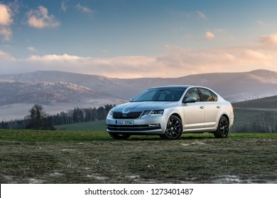 PRAGUE, THE CZECH REPUBLIC, 22. 12. 2018: Skoda Octavia 2.0 TDI 135 kW, model year 2018 in Czech with nice view
