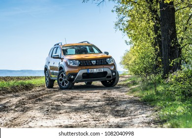 PRAGUE, THE CZECH REPUBLIC, 22. 4. 2018: New Dacia Duster 1.5 dCi 4x4, model year 2018 in Czech in off road