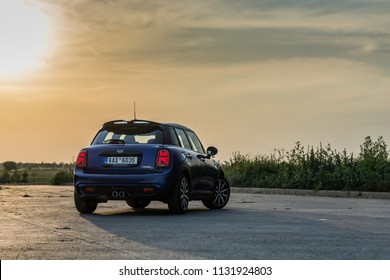 PRAGUE, THE CZECH REPUBLIC, 22. 6. 2018: New Mini Cooper S, model year 2019 in Czech in sunset