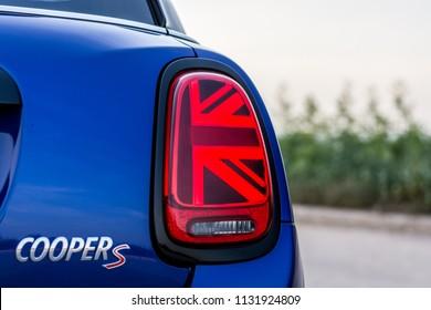 PRAGUE, THE CZECH REPUBLIC, 22. 6. 2018: New Mini Cooper S, model year 2019 in Czech: New rear light