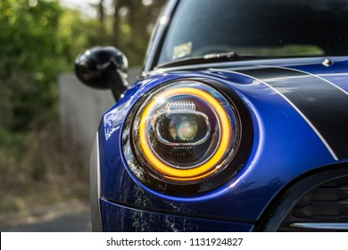 PRAGUE, THE CZECH REPUBLIC, 22. 6. 2018: New Mini Cooper S, model year 2019 in Czech: Front light