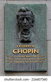 PRAGUE, CZECH REPUBLIC - 22 AUG 2014: Memorial to Fryderyk Chopin. This is on the site of a house where Chopin stayed during 1829 and 1830.
