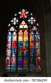 PRAGUE, CZECH REPUBLIC - 22 DECEMBER, 2017 - Stained glass window at the cathedral of St. Vitus in Prague Castle Photography
