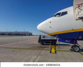 Prague, The Czech Republic, 22.4.2019: Plane Ryanair at the airport in Prague.